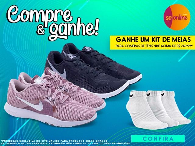 Compre & ganhe! Ganhe um kit de meias | Para compras de Tênis Nike acima de R$ 249,99