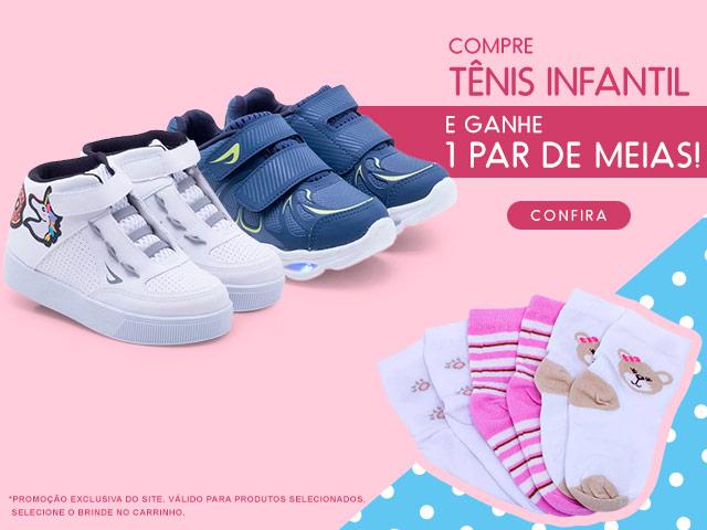 Compre Tênis Infantil e ganhe 1 par de meias!