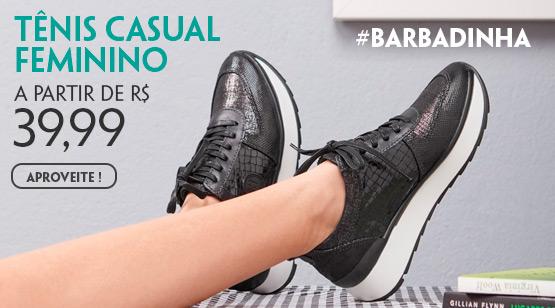 Tênis Casual Feminino a partir de R$ 39,99 #barbadinha