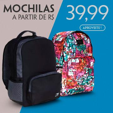 Mochilas a partir de R$ 39,99