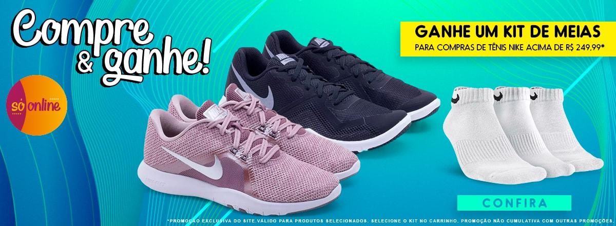 Compre & ganhe! Ganhe um kit de meias   Para compras de Tênis Nike acima de R$ 249,99