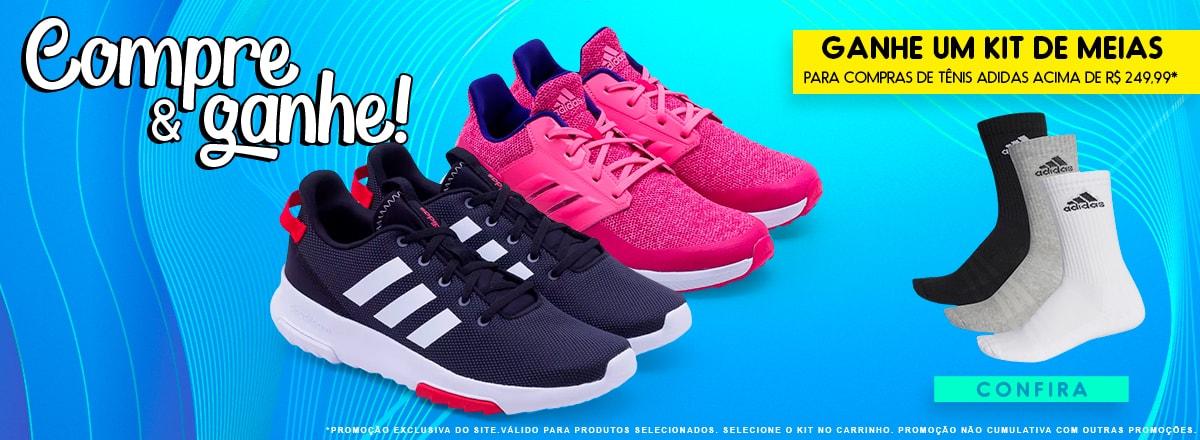 Compre & ganhe! Ganhe um kit de meias   Para compras de Tênis Adidas acima de R$ 249,99